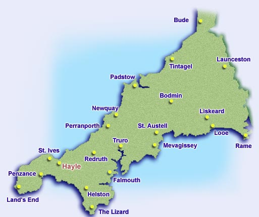 Cornwall Beaches map